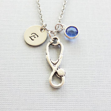 Stethoscope Necklace, Medical, MD, Doctor, Nurse Gift, Swarovski Birthstone, Silver Initial, Personalized Monogram, Hand Stamped Letter