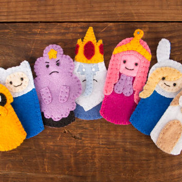 Set of Adventure Time Handsewn Felt Finger Puppets