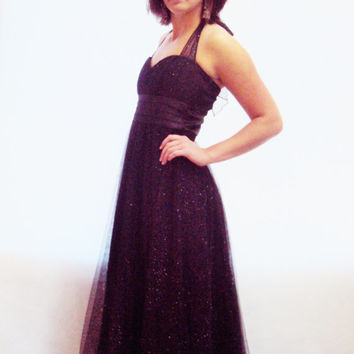 90s 50s vintage PARTY Dress S, M / New Years Eve / NYE ? Iridescent Navy Black Dress / Crinoline / Tulle /