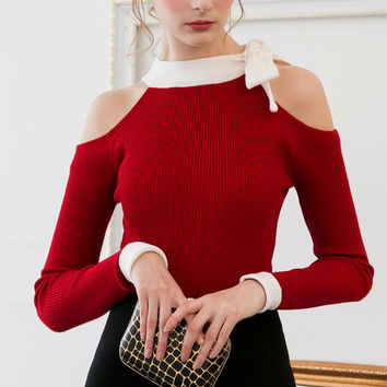 Cold Shoulder Slim Fit Red Sweater