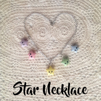 Rainbow Stars Necklace - cute clay charms kawaii pendant sweet lolita fashion accessory adorable fairy kei pastel twinkle gifts for her