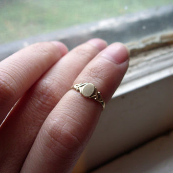 Victorian Baby Signet Ring in Solid 10k Gold - Size 1.5 - Hallmarked and Signed
