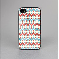 The Vintage Red & Blue Chevron Pattern Skin-Sert for the Apple iPhone 4-4s Skin-Sert Case