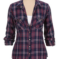 Stud Embellished Pocket Plaid Shirt - Multi
