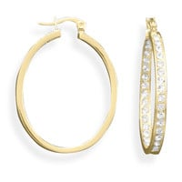 14 Karat Gold Plated Oval In and Out Crystal Fashion Hoop Earrings