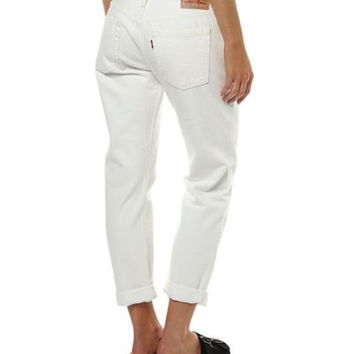 Levi's Womens 501 CT 0028 White Distressed Boyfriend Fit Jeans Size 24 X 32