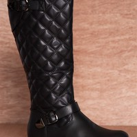 Reneeze Royalty Gone Wild Quilted Faux Leather Riding Boots Kerry-02 - Black