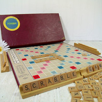 Vintage Scrabble Game Selchow & Righter Co. - Early Wooden Letter Tiles, Scrabble Board and Racks for Repurposing Shabby Well Used Condition