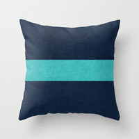 classic - navy and aqua Throw Pillow by Her Art | Society6