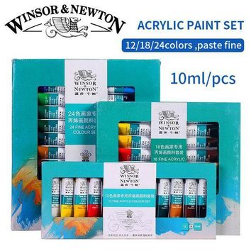 MDIG57D Winsor&Newton Professional Acrylic Paints Set 12/18/24 Colors 10ML Hand Painted Wall Drawing Painting Pigment Set Art Supplies