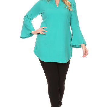 Solid Bell Sleeve Tunic Top