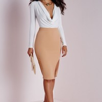 Missguided - Cowl Neck Bodysuit White