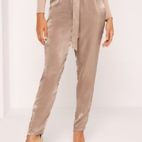 Missguided - Sandwashed Satin Belted Cigarette Pants Brown