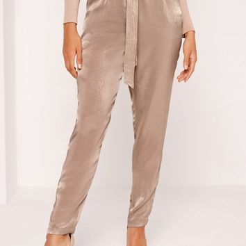 Missguided - Sandwashed Satin Belted Cigarette Trousers Brown