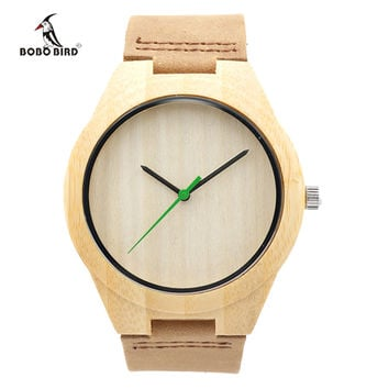New Fashion Bamboo Wood Quartz Watches Japanese Movement 2035 Wood Watches Genuine Leather Strap Wood Watch for Men Women