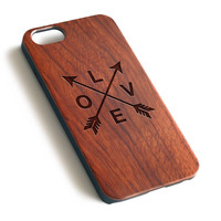 Arrow and Love Natural wood precise laser engraved iPhone 7 6 6S Plus wood case WA126