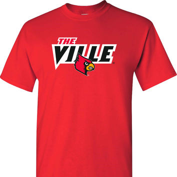 The Ville Louisville Cardinals T Shirt on a Red Short Sleeve T Shirt