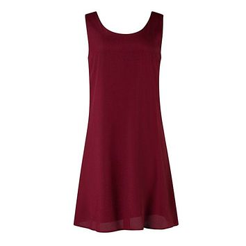 Chevron Sleeveless Bow Back Dress - Burgundy