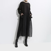 Women Solid Color Simple Long Sleeve Lace Gauze Stitching Middle Long Section Sweater Dress