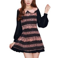 Allegra K Women Pullover Doll Neck Long Sleeve Elegant Patchwork Mini Dress
