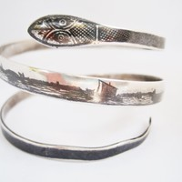 Vintage Middle East Silver and Niello Triple Coil Snake Bracelet