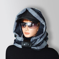 Infinity Scarf  Blue Gray Men Women Unisex very Soft Pure Italian Soft Wool Scarf Cozy Cawl with Natural Leather Cuff by Elena Joliefleur
