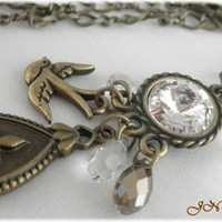 Antique Brass Crystal Charm Necklace