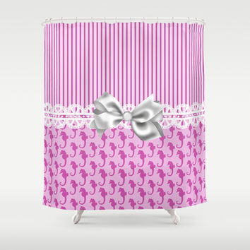 Pink Seahorses Shower Curtain by DMiller