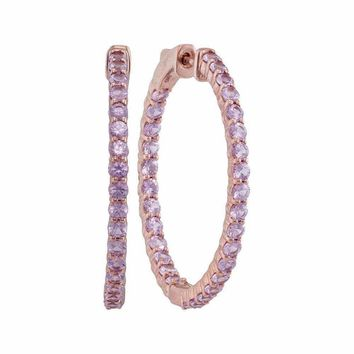 14kt Rose Gold Women's Round Pink Sapphire Inside Outside Hoop Earrings 3-3-4 Cttw - FREE Shipping (USA/CAN)