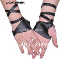 Women/Ladies Half Palm Strap Gloves Fingerless Pole Dancing Jazz Black Fashion 048-1581