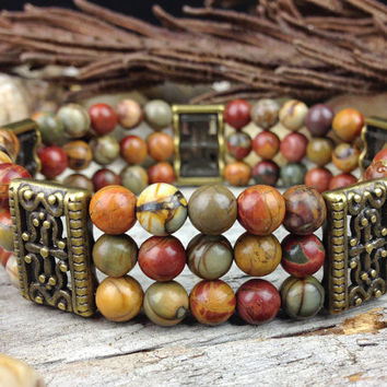 Red Creek Jasper Stretch Bracelet with Antiqued Bronze, Picasso Jasper Triple Strand Gemstone Bracelet on Elastic Cord