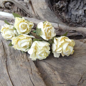 Light Yellow Flower Wedding Hair Pins,  Bridal Hair Pins, Hair Accessories, Fabric Hair Pins, Bridesmaid Hair, Woodland - Set of 6