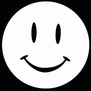 Smiley Face smile Car Truck Laptop Window Decal Sticker White