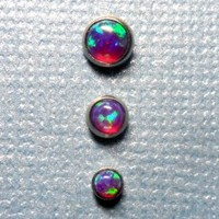 Set of Three Fire Violet Purple Opal in Steel Microdermal Jewelry - 3mm 4mm 5mm