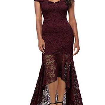 New Burgundy Patchwork Lace Cut Out Zipper V-neck Cap Sleeve Homecoming Party Elegant Midi Dress