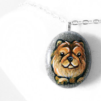 Chow Chow Necklace, Dog Pendant, Pet Memorial, Gift For Her, In Memory, Pet Portrait, Hand Painted Jewelry, Beach Stone