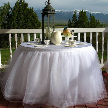 White Tulle Table Skirt, Tutu Tableskirt for Wedding, Birthday or Cake Table- Custom Size, Made to Order
