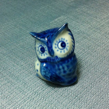 Miniature Ceramic Owl Bird Animal Cute Little Funny Tiny Small White Blue Figurine Statue Decoration Hand Painted Craft Collectible Figure