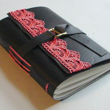Faux Leather Journal/Notebook - Black and Coral