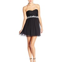 Speechless Juniors' Glitter-Lace Strapless Dress with Beaded Waist