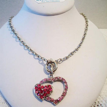 Pink Heart Pendant Necklace Rhinestone Valentines Day Costume Jewelry Fashion Accessories