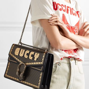 7b587ea41e9 GUCCI Dionysus printed textured-leather shoulder bag