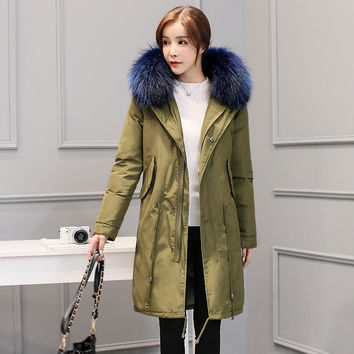 2016 New Winter Women Big Real Raccoon Fur Collar Hooded Coat Army Green 90% Duck Down Long Coat Fur Parka Jacket high quality