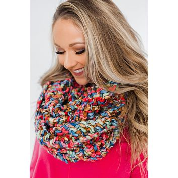 Chunky Knit Infinity Scarf- Multi-Colored