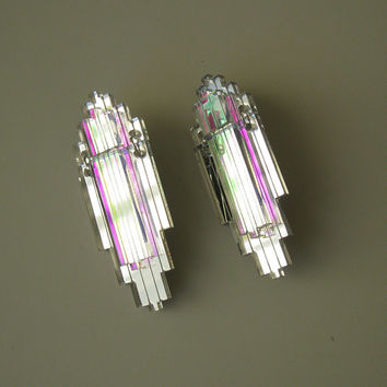 Art Deco Statement Earrings - Iridescent Silver Mirror Laser Cut Jewel Acrylic Perspex