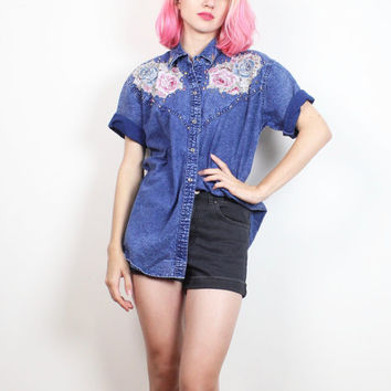 Vintage Acid Wash Denim Chambray Shirt 1980s New Wave Floral Applique Studded Puffy Paint 80s Collared Shirt Blue Jean Boyfriend Top M L