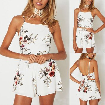 US Womens 2Pcs Co-ord Set Crop Top&Shorts Playsuit Ladies Summer Jumpsuit Dress