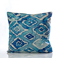 "Acuarela Pillow - Blue Combination 18""x18"""