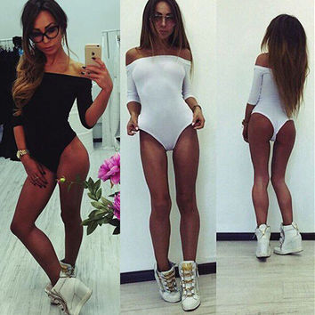 Strapless Solid Color Tight Long Sleeve Romper Jumpsuit