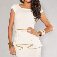 Scoop Neckline White Peplum Dress with Gold Trim